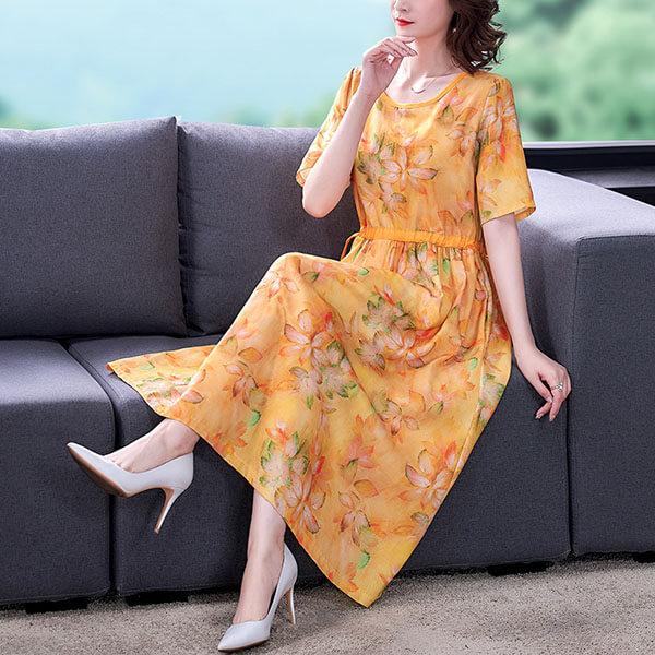 文青印花顯瘦腰綁帶洋裝-中大尺碼 獨具衣格 J3759