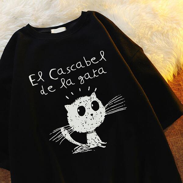 貓咪印花中長版T桖上衣-大尺碼 獨具衣格 J3760