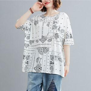 牛奶絲民俗風印花T桖上衣-中大尺碼 獨具衣格 J3761