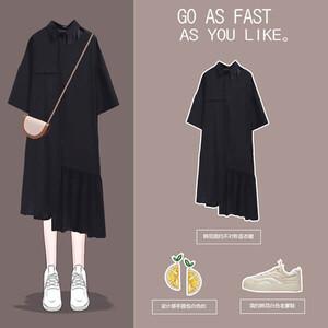 顯瘦不規折荷葉下襬襯衫洋裝-大尺碼 獨具衣格 J3766