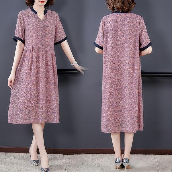 絲質小碎花V領顯瘦洋裝-中大尺碼 獨具衣格 J3767
