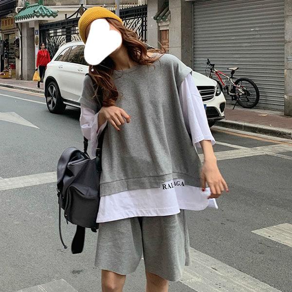 韓系休閒風假兩件T桖套裝(上衣+褲子)-中大尺碼 獨具衣格 J3770