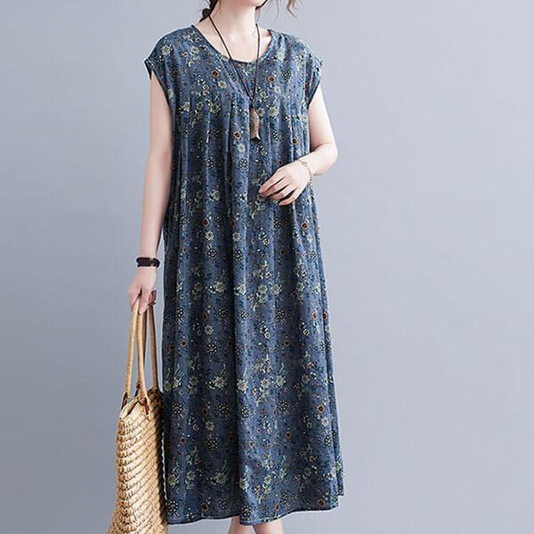 棉綢小碎花顯瘦口袋洋裝-中大尺碼 獨具衣格 J3772