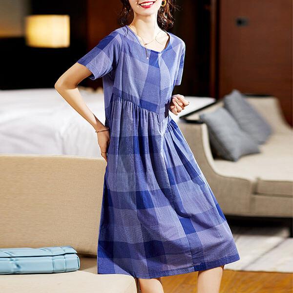 藍色格紋顯瘦洋裝-中大尺碼 獨具衣格 J3773
