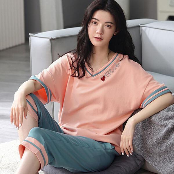 藍橘撞色愛新印花家居服套裝(上衣+褲子)-大尺碼 獨具衣格 J3774