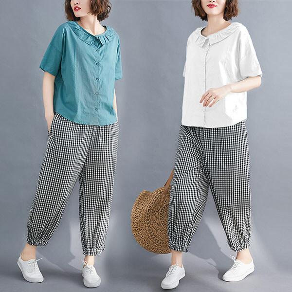 荷葉領格紋褲套裝(上衣+褲子)-中大尺碼 J3775