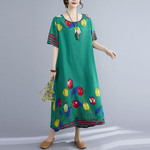 棉綢鬱金香印花洋裝-大尺碼 獨具衣格 J3792