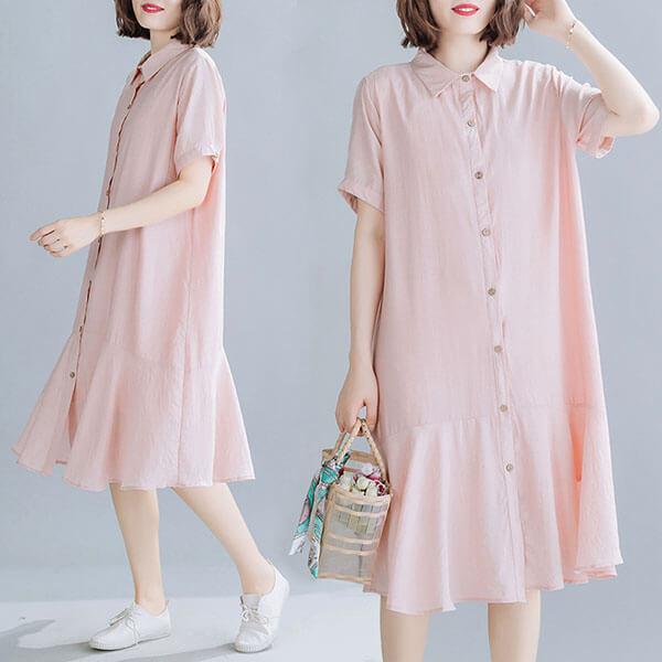 蜜桃粉襯衫洋裝-大尺碼 獨具衣格 J3793
