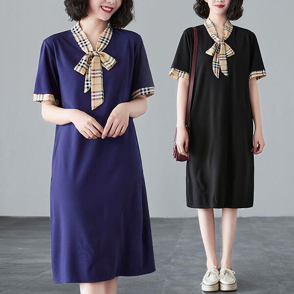 格紋領巾顯瘦洋裝 獨具衣格 J3803