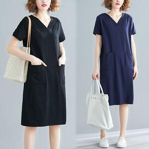 棉質顯瘦V領雙口袋洋裝-中大尺碼 獨具衣格 J3811