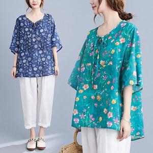 棉綢領口綁帶文藝風顯瘦上衣-大尺碼 獨具衣格 J3814