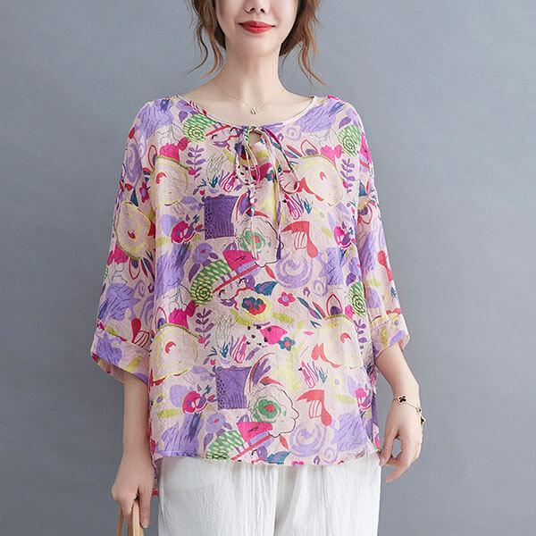棉綢領口綁帶藝術風顯瘦上衣-大尺碼 獨具衣格 J3816