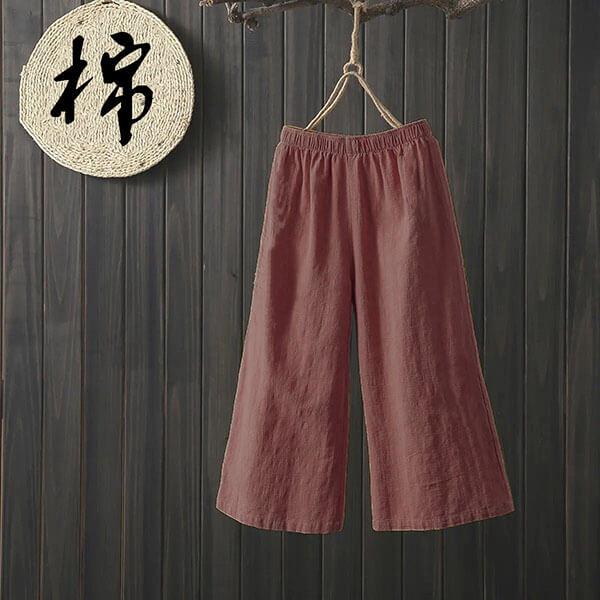 棉麻直筒顯瘦雙口袋七分褲 獨具衣格 J3830