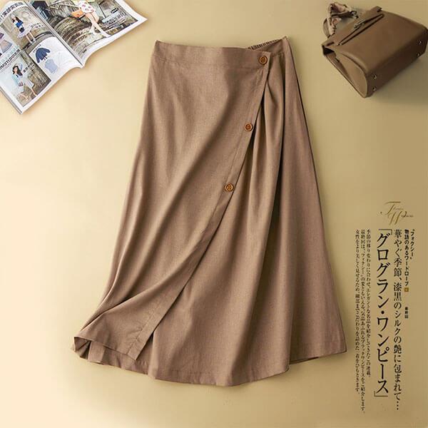 棉麻大裙襬釦子裝飾長裙 L-2L 獨具衣格 J3832
