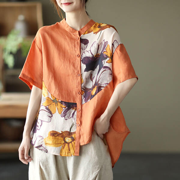 棉綢夏荷拼接襯衫上衣-大尺碼 獨具衣格 J3836