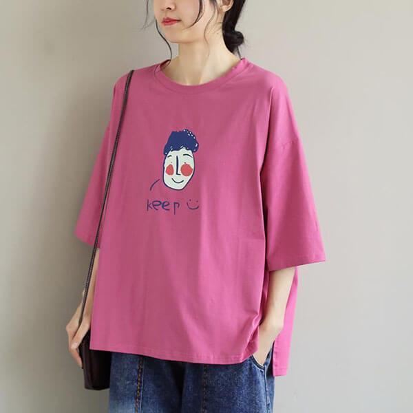 棉質笑臉印花T桖上衣-大尺碼 獨具衣格 J3857