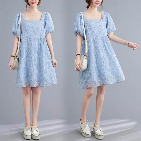 方領小碎花泡泡袖洋裝呒-中大尺碼 獨具衣格 J3863