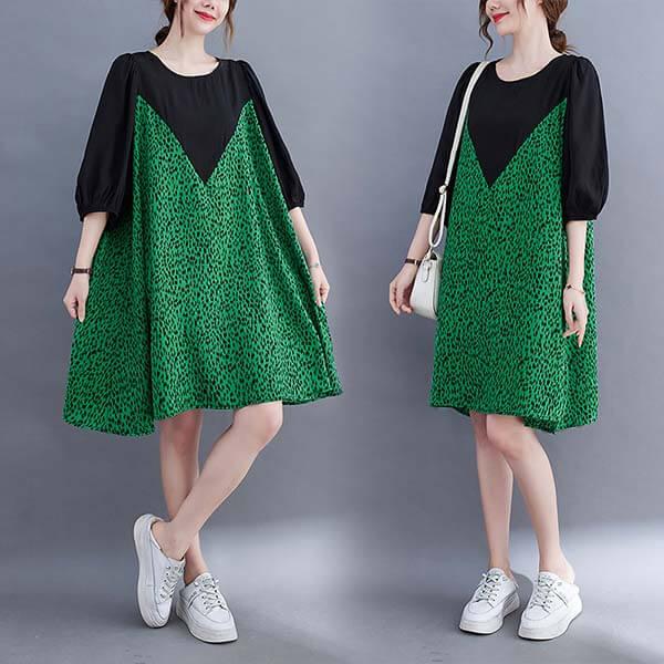綠色豹紋雪紡拼接洋裝-大尺碼 獨具衣格 J3864