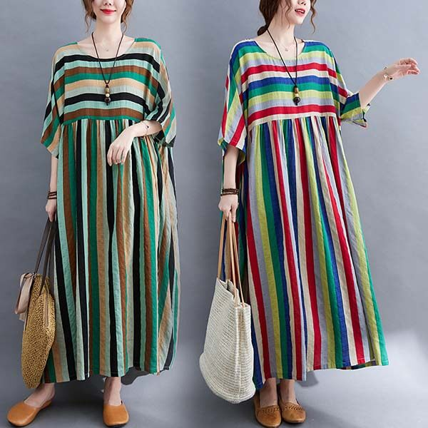 棉綢彩色配條拼接長洋裝-大尺碼 獨具衣格 J3865