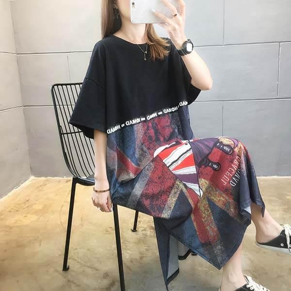 透氣布料拼接洋裝-大尺碼 獨具衣格 J3867