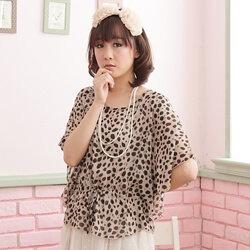 §獨具衣格§ F99493 日本進口 豹紋下擺綁帶雪紡紗蝴蝶裝