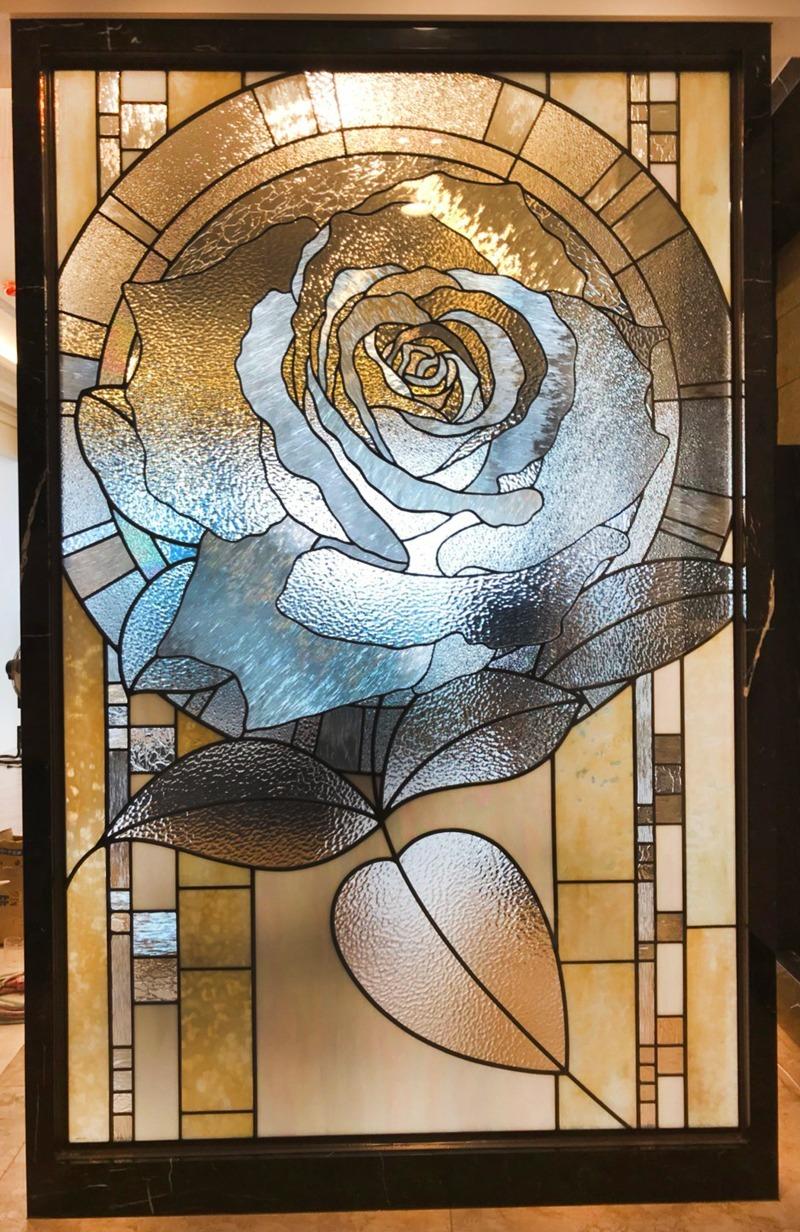 鑲嵌玻璃-玫瑰花語(藝術玻璃)