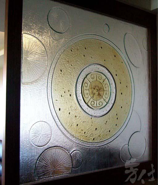 藝術玻璃-窯燒浮雕創作 圓滿如意