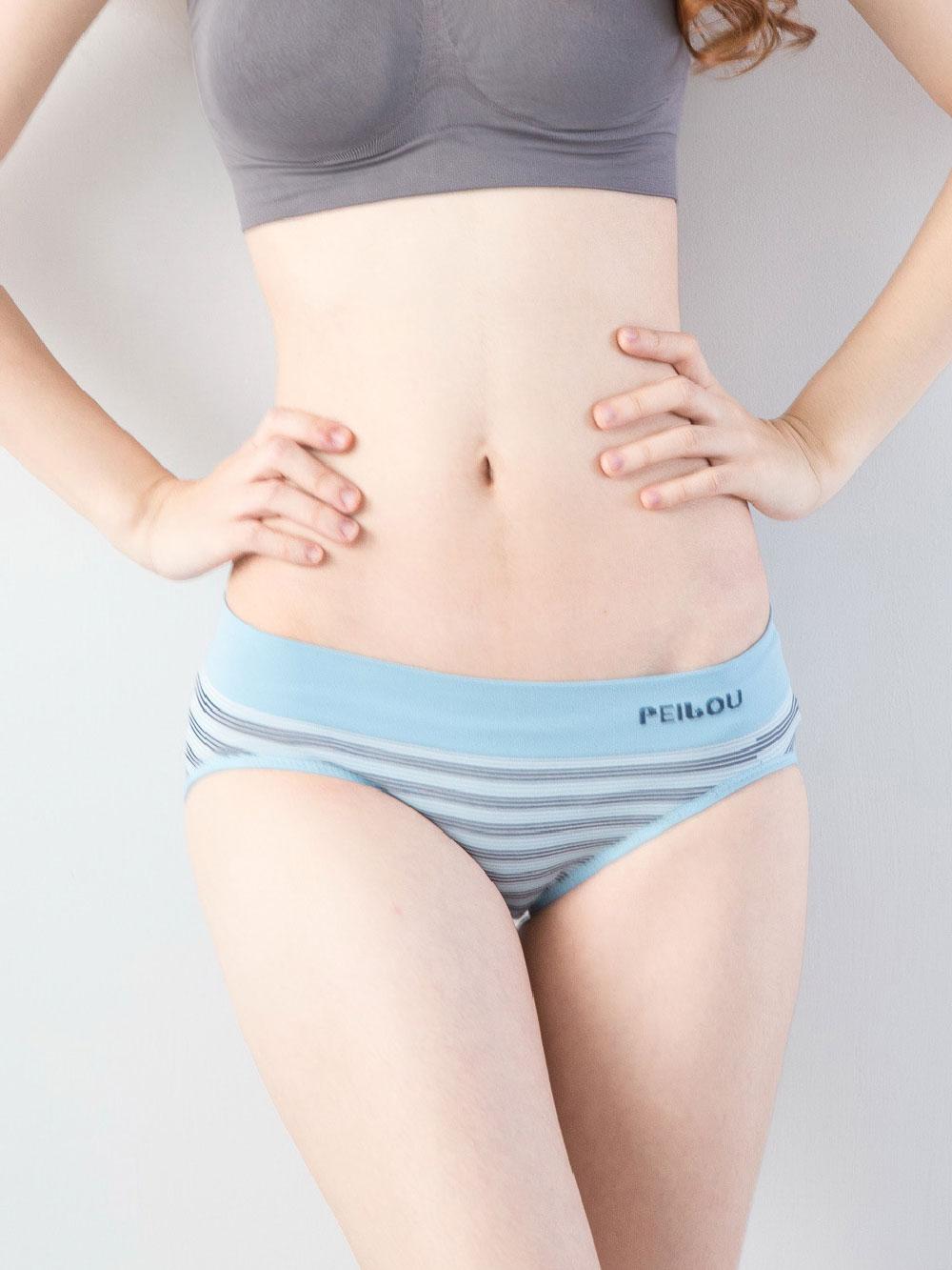 貝柔機能無縫低腰三角褲-水藍