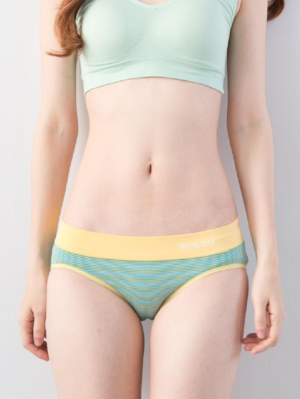 貝柔機能無縫低腰三角褲-黃綠