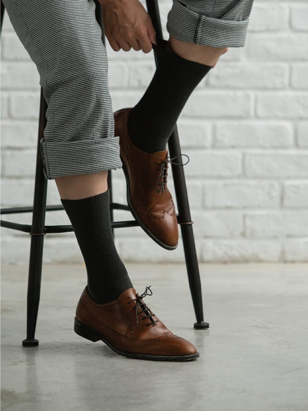 (單雙)(男)機能抗菌萊卡除臭襪-紳士寬口長襪