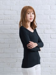 Tencel 機能吸濕發熱保暖衣_女圓領(丈青)