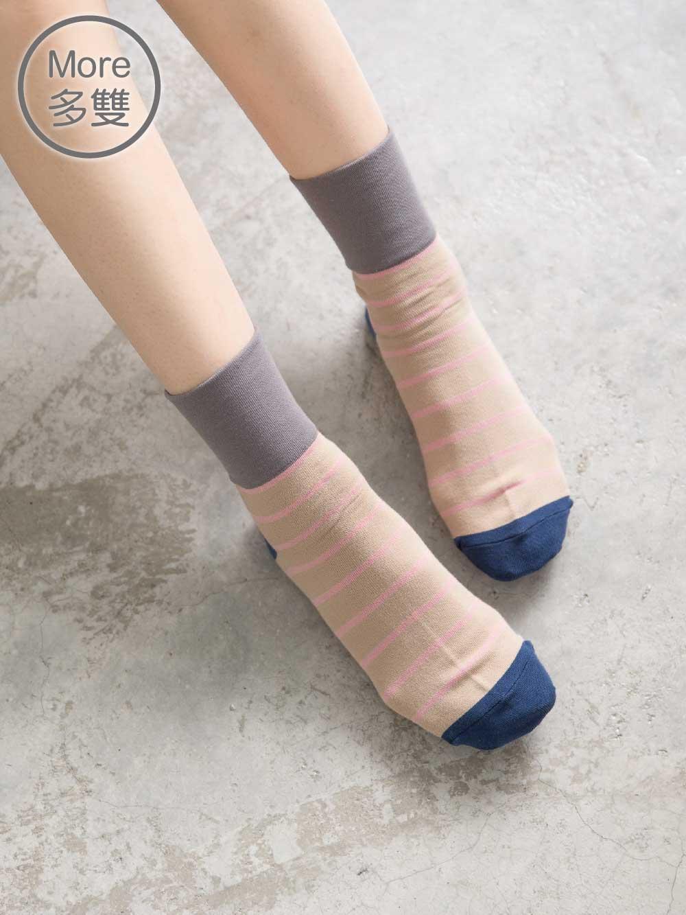 貝柔(5雙) Supima抗菌萊卡除臭襪-短襪(寬口條紋)