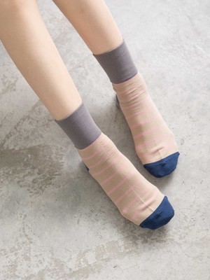 貝柔(女)Supima抗菌萊卡除臭襪-寬口短襪(條紋)