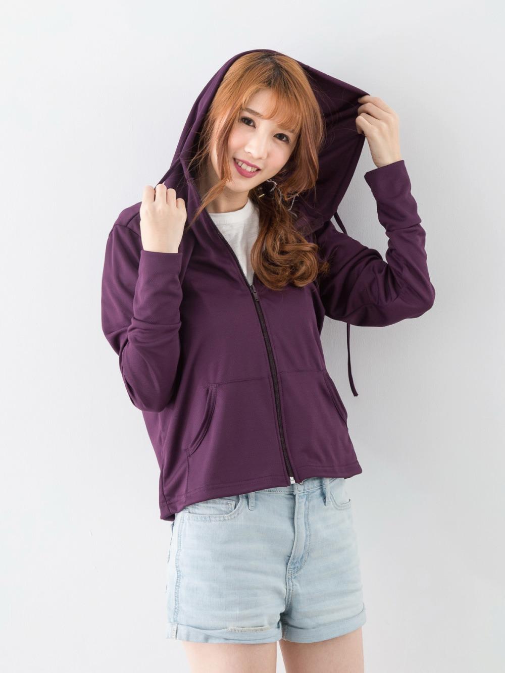 貝柔高透氣抗UV防曬外套-連帽深紫