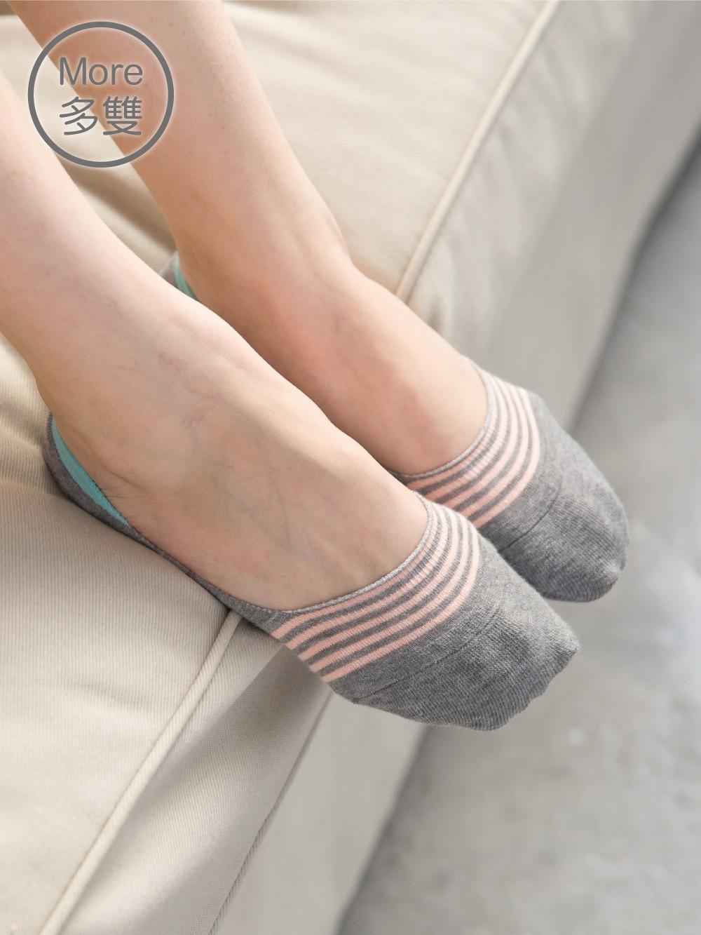貝柔(6雙) 0束痕柔棉氣墊止滑襪套_粉彩條紋