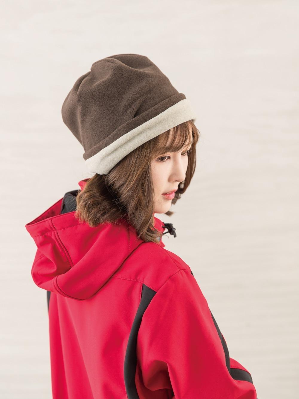 戶外防風保暖絨帽-咖啡/駝色