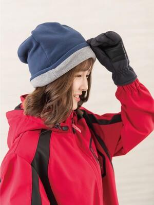 戶外防風保暖絨帽-藍/灰