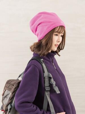 戶外防風保暖絨帽-桃粉