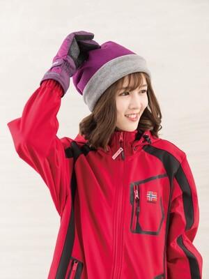 戶外防風保暖絨帽-紫/灰