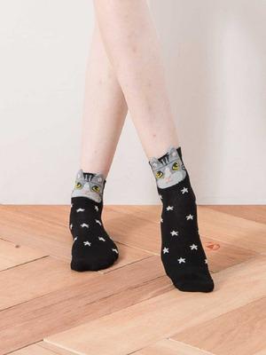 貝柔韓風立體少女襪-灰貓