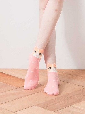 貝柔韓風立體少女襪-黃貓