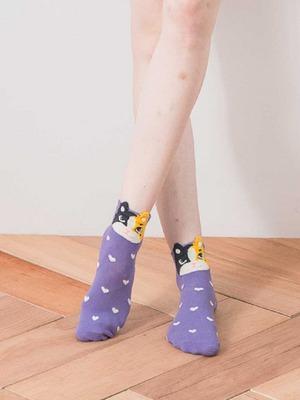 貝柔韓風立體少女襪-花貓
