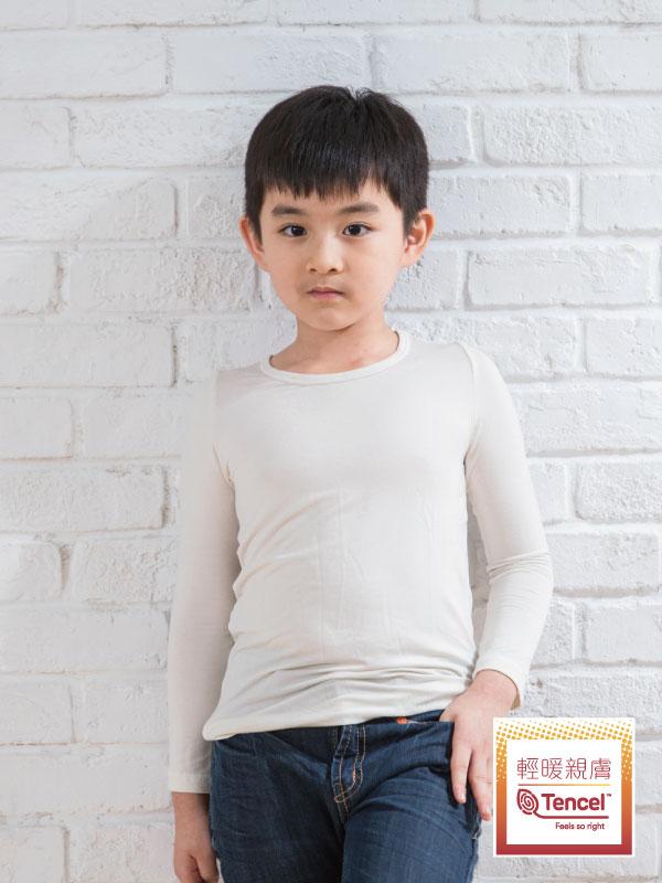 Tencel 機能吸濕發熱保暖衣_兒童圓領(米白)