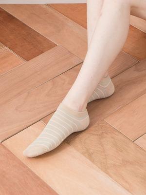 貝柔精梳棉船襪-氣質條紋