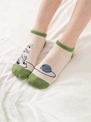 貝柔貓日記萊卡船型襪-等待