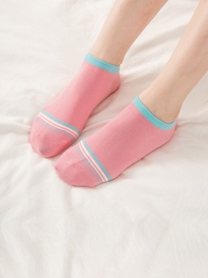 貝柔馬卡龍萊卡船型襪-細緻條紋