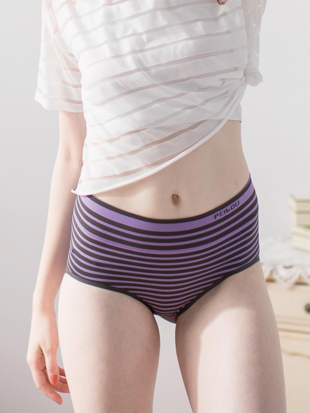 貝柔竹炭抗菌條紋無縫中腰三角褲-紫