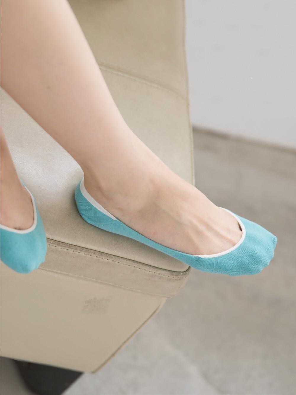 貝柔軟底護足氣墊無痕止滑襪套-純色