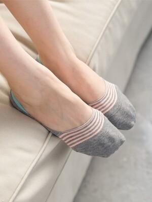 貝柔0束痕柔棉氣墊止滑襪套-粉彩條紋