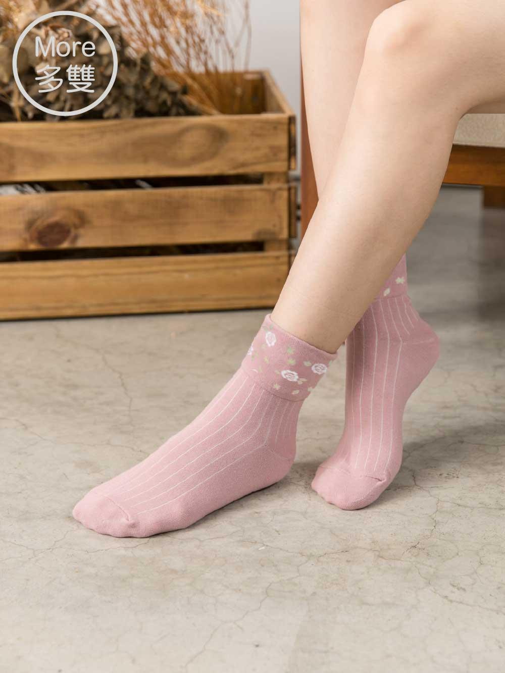 貝柔(多雙)日系萊卡寬口襪-玫瑰